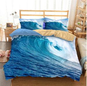 3D Bedding Set Sea wave Print Duvet cover set Twin queen king lifelike bedclothes with pillowcase