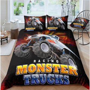 3D Boys Cool Trucks Racer Sports Bedclothes Quilt Comforter Cover Adults Children - (4 styles)