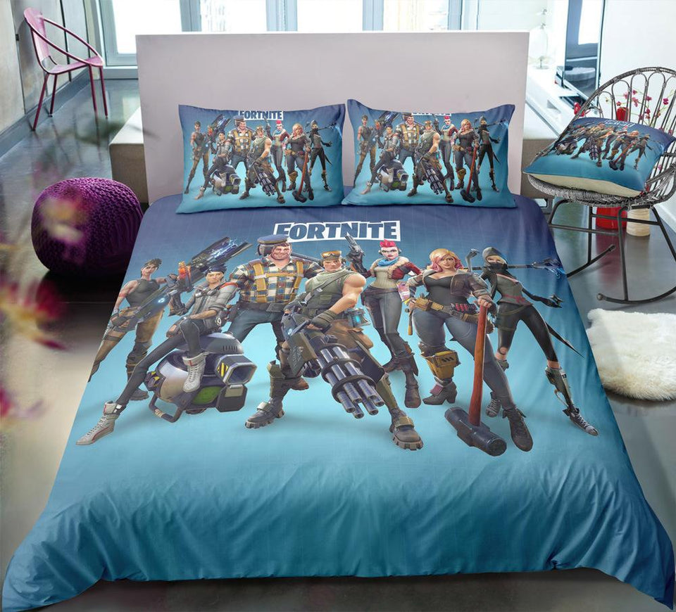 Blue - Fortnite Gamer - Bedding Set (Duvet Cover & Pillowcases)
