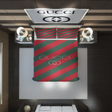 Stripe Lines Gucci Inspired Bedding Set Duvet Cover