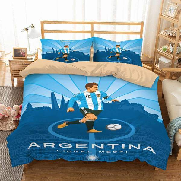 3D Customize  2019 Argentina Lionel Messi Bedding Set Duvet Cover