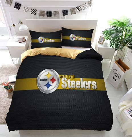 NFL Steelers Football Team Logo Custom Bedding Set (Duvet Cover & Pillowcases)
