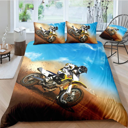 3D Boys Cool Trucks Racer Sports Bedclothes Quilt Comforter Cover Adults Children #1 - (3 styles)