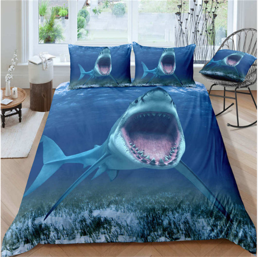 3D Shark Turtle Fishes Duvet Cover Set Boys Adults Bedclothes Comforter Cover Pillowcase Comfortable Fashion Bedding Linens Set #1