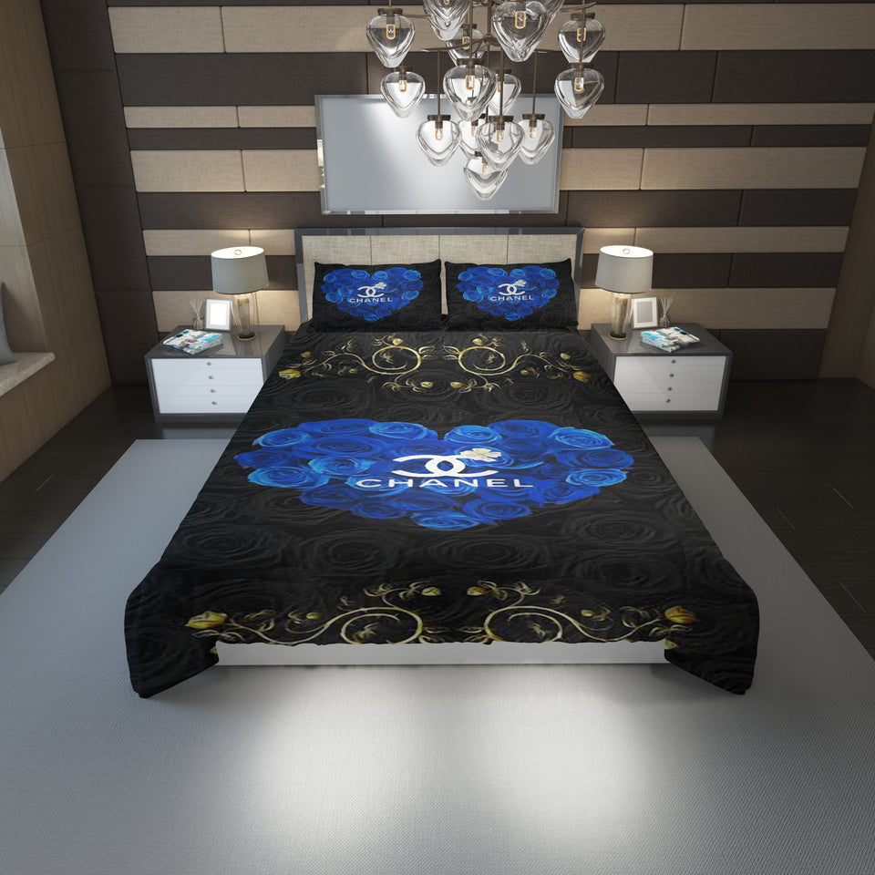 Chanel Roses Blue Heart Logo Custom Bedding Set (Duvet Cover & Pillowcases)