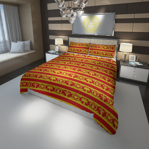 Versace Home Luxury Bedding Set In Red And Gold Medusa #1(Duvet Cover & Pillowcases)