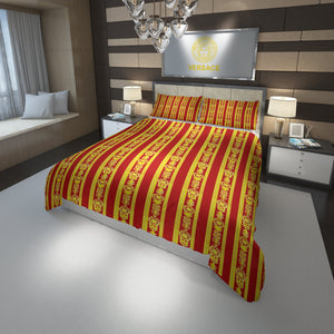 Versace Home Luxury Bedding Set In Red And Gold Medusa (Duvet Cover & Pillowcases)