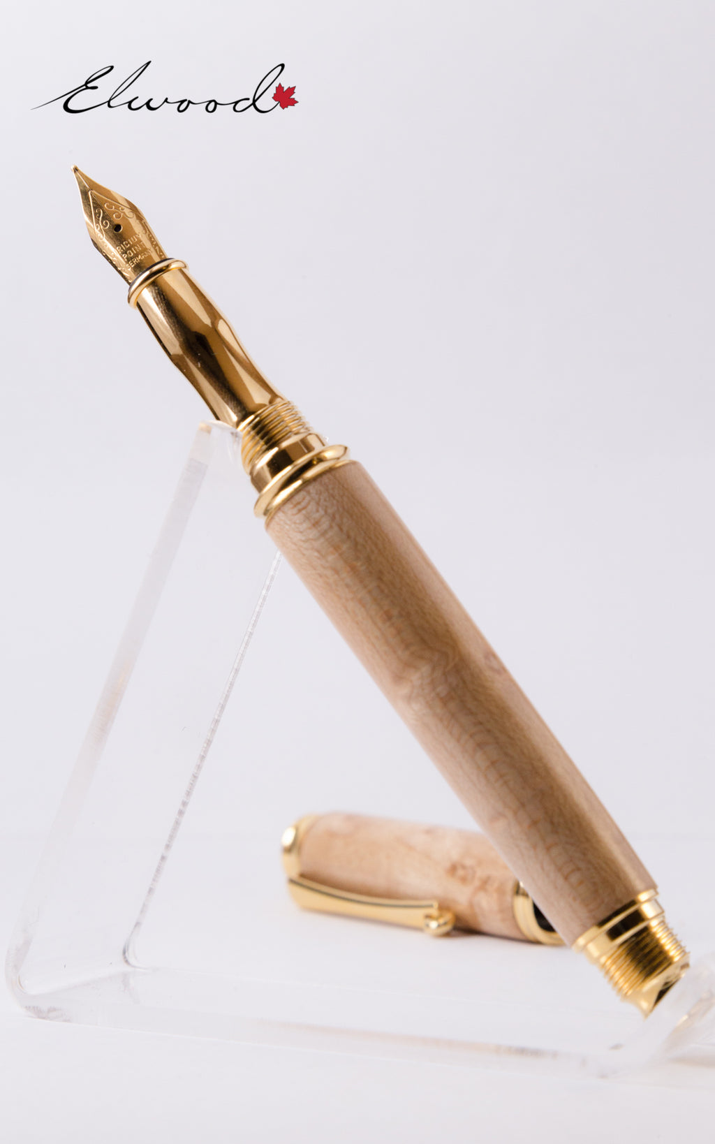 Virage Fountain Pen open cap slanting left with Elwood Watermark