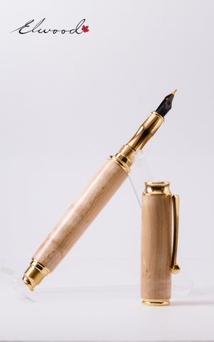 Virage Fountain Pen open cap slanting right with Elwood Watermark