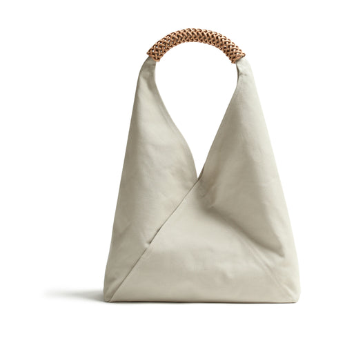 Woven Triangle Bag L  WHITE