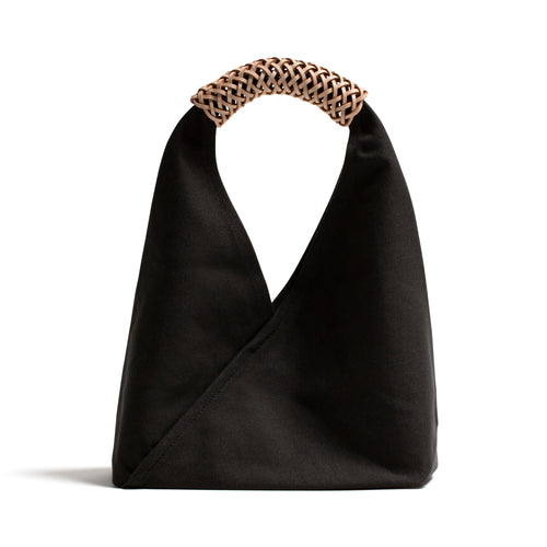Woven Triangle Bag S  BLACK