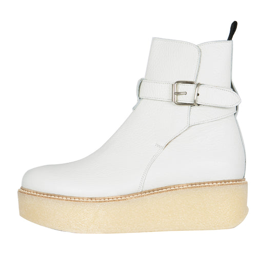 patsy - grained leather white