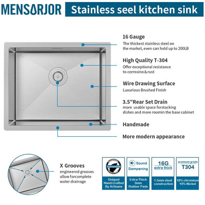 Mensarjor 22'' X 18'' Undermount Single Bowl Kitchen Sink