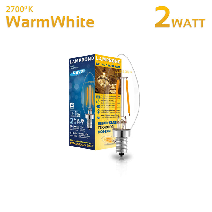 Lampbond® - Lampu LED Filament 2 Watt - Warm White - E14