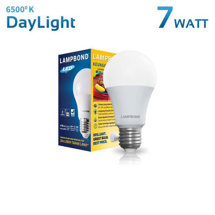 Lampbond® - Lampu LED Bohlam 7 Watt - Cool Daylight