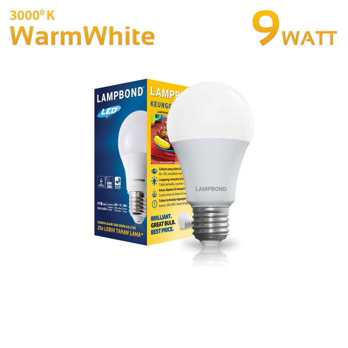 Lampbond® - Lampu LED Bohlam 9 Watt - Warm White