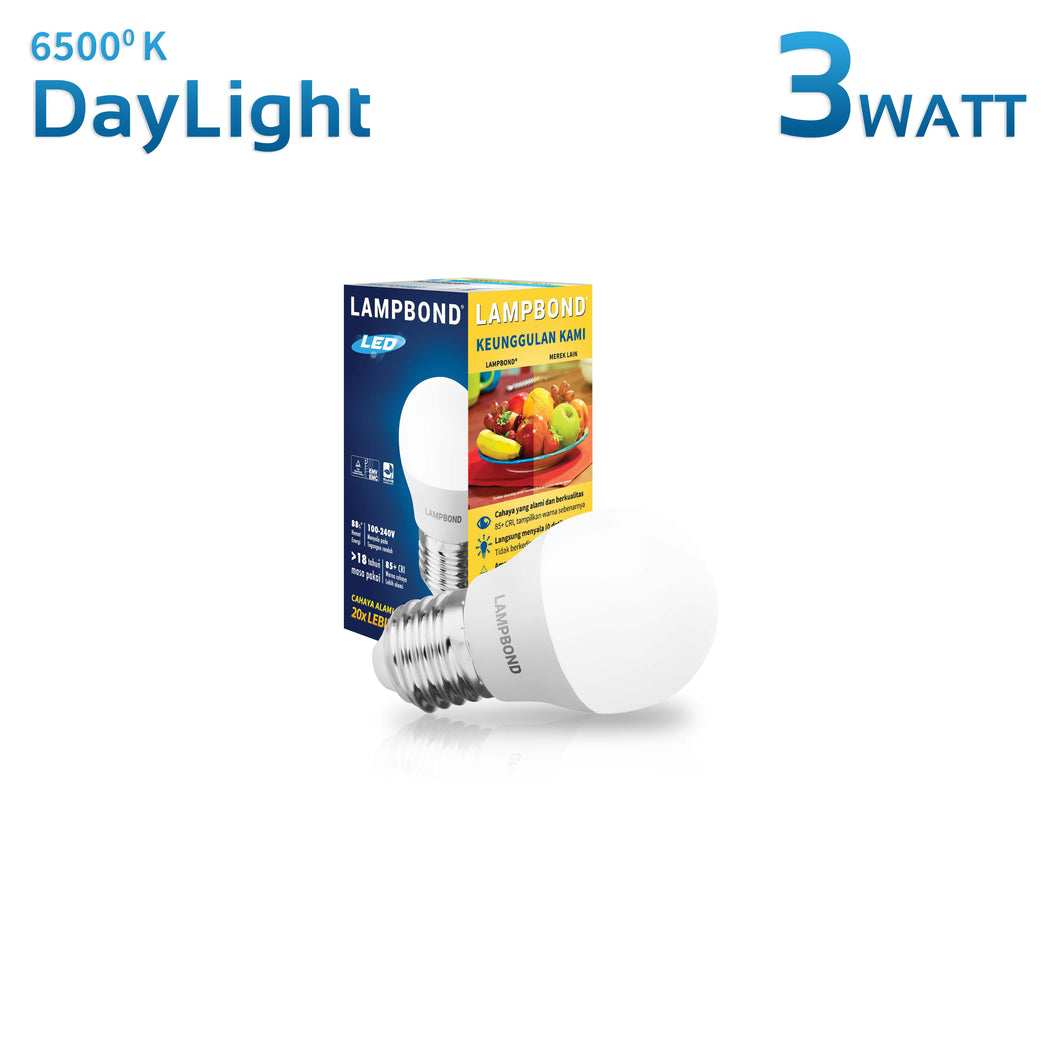 Lampbond® - Lampu LED Bohlam 3 Watt - Cool Daylight