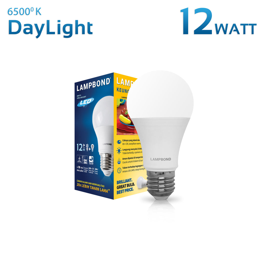 Lampbond® - Lampu LED Bohlam 12 Watt - Cool Daylight