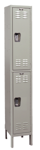 "Double Tier Standard Steel Locker 1-Wide 12"" W x 15"" D x 36"" H"