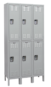 "Double Tier Standard Steel Locker 3-Wide 12"" W x 15"" D x 36"" H"
