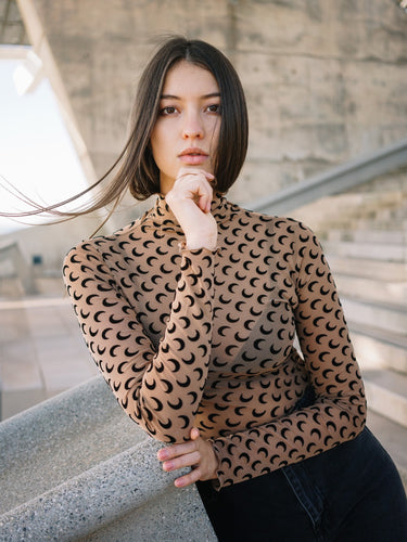 Mesh Moon Print Turtleneck