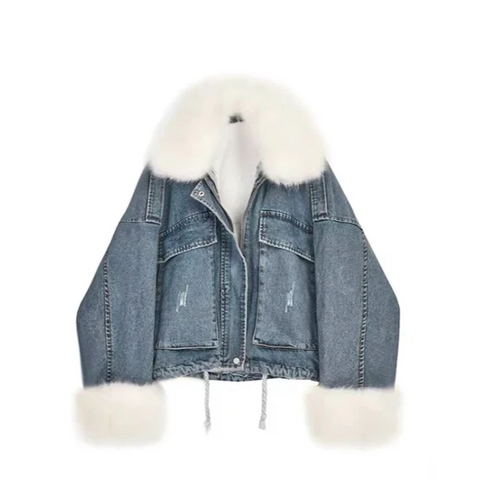 jeans jacket with white fur elements decoration oversize