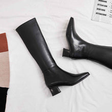 Load image into Gallery viewer, Genuine leather square toe boots