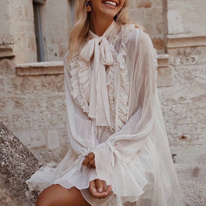 Cute Ruffles Dress with a Bowknot