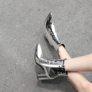 silver ankle boots women female zipper high heel