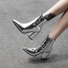 Load image into Gallery viewer, silver metallic ankle boots for women high heels