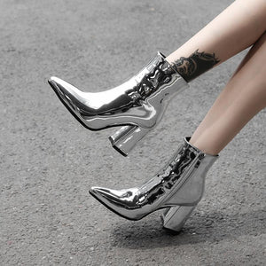 silver metallic ankle boots for women high heels