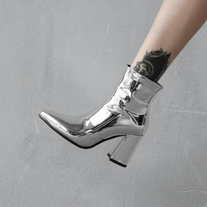 liquid metal ankle boots for women high heels pointed toe
