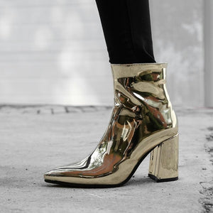 gold metallic ankle boots women pointed toe