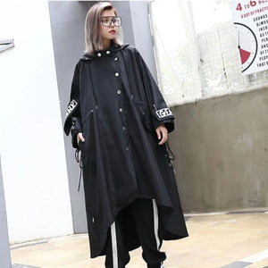 Oversized Streetwear Black Trench