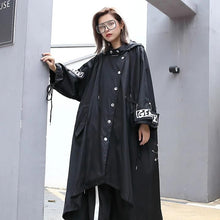 Load image into Gallery viewer, Oversized Streetwear Black Trench