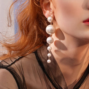 round pearl threader long earrings