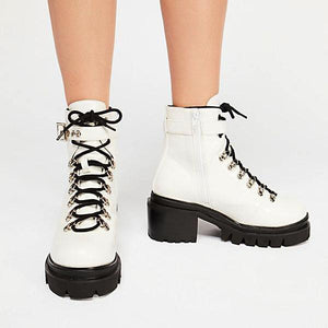 Motorcycle White Glossy Boots