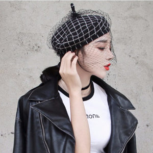 Wool Plaid Beret with Mesh
