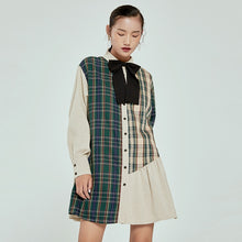 Load image into Gallery viewer, Plaid Contrast Color Bow Dress