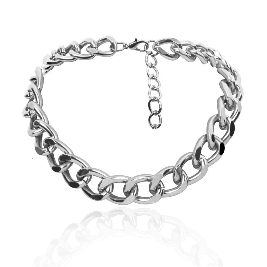 thick link chain big silver choker for women