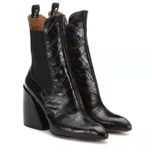Crocodile Faux Leather Ankle Boots