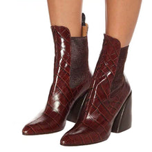 Load image into Gallery viewer, Crocodile Faux Leather Ankle Boots