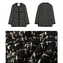 Load image into Gallery viewer, Black Plaid Tweed Jacket