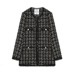 Black Plaid Tweed Jacket