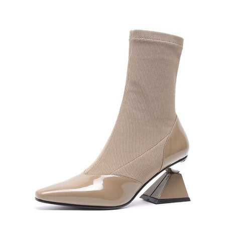 Leather Shoes with Geometric Heel & Elastic Sock