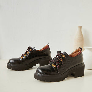 Leather Chunky Platform Shoes