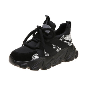 Black Chunky Platform Shoes Sneakers Running Shoes