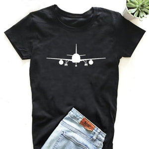 Airplane print t shirt for women in black white color cotton fabric