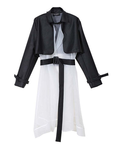 Patchwork Leather Organza Trench Coat