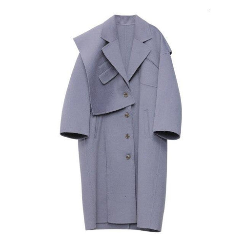 Korean Fashion Design Purple Lavender Wool Thick Warm Coat with patchwork strange interesting design dusty lavender color
